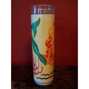 mermaid 7 day candle retro vintage pin up rockabilly nautical votive decor
