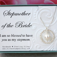 Gift for Stepmother of the Bride gift box sterling silver eternity necklace with Swarovski pearl in a gift box bridal wedding party gifts