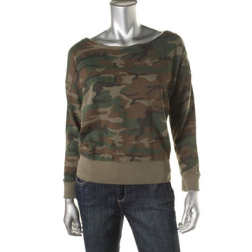 Denim & Supply Ralph Lauren Womens Camouflage Boatneck Sweatshirt