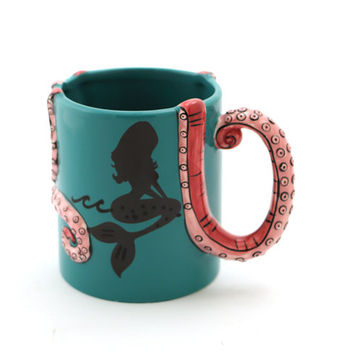 Mermaid mug,octopus, tentacle,cephalopod,summer beach mug,pottery and ceramics, home and living