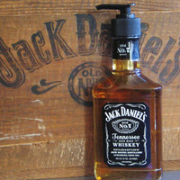 Jack Daniels Soap Dispenser - Upcycled Glass Bottle Whiskey Daniel's