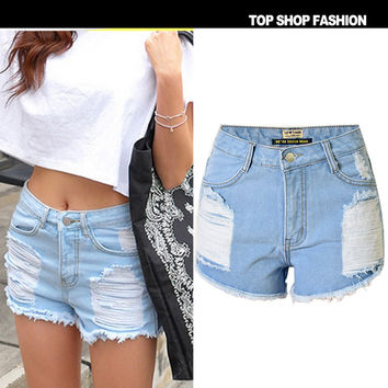 Summer Rinsed Denim Ripped Holes Weathered High Rise Denim Pants Shorts [6034600001]