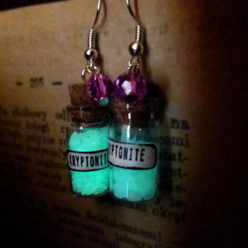 Glows in the dark - glass bottle earrings, Kryptonite, miniature bottles jewelry by The Neverland