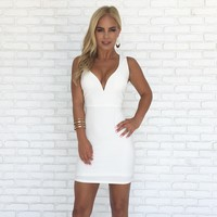 Life of the Party Bodycon Dress in White