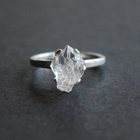 Raw Diamond Ring Uncut Engagement Ring Sterling Silver Handmade Avello
