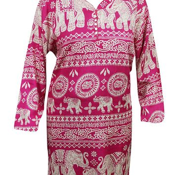 Mogul Woman's Ethnic Tunic Dress Elephant Printed Festive Indian Kurti