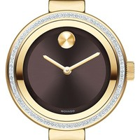 Women's Movado 'Bold' Diamond Bezel Bangle Watch, 34mm - Gold/ Black