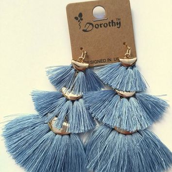 Thread Tassel Tiered Earrings - Blue