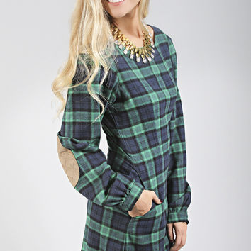 dayton k: noelle dress - navy plaid