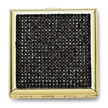 Gold-tone Grey Crystals Compact Mirror