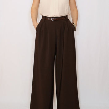 High waist Wide leg pants Chocolate brown pants with pockets
