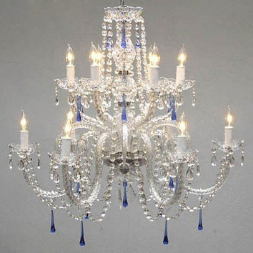 Authentic All Crystal Chandelier With Blue Crystals! - A46-387/6+6/Blue