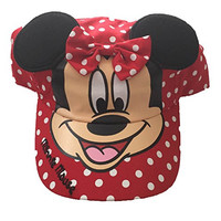 Disney Minnie Mouse Polka Dot Girls Baseball Cap With Ears - Red