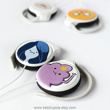 Adventure Time handpainted clip headphones  by ketchupize on Etsy