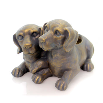 Home & Garden Dogs Planter Metallic Finish Outdoor Decor