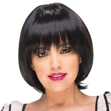 Trendy Full Bang Capless Brown Highlight Bob Style Short Straight Synthetic Wig For Women - Black