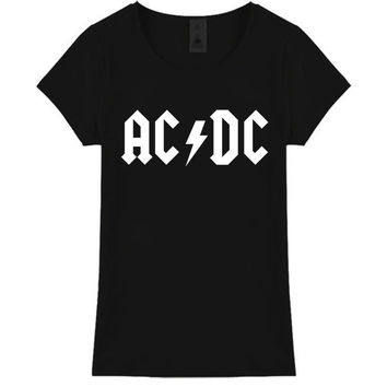 ACDC Letter Print Shirt Lovely Personality Women T-Shirt S - 3XL T shirt Cultivate One's Morality Tops Tees Hipster T-F10512