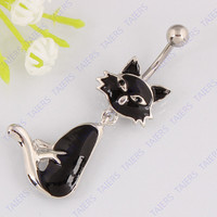 Black Cat Belly Button Ring - Dangle Body