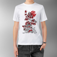 Japanese Red Sun Confucius Enlightenment China Asian Traditional Fortune Wisdom Goddess with Tiger White 100% cotton T shirt t-shirt tee