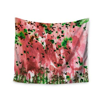 "Ebi Emporium ""We're Better Together, Pink"" Pink Green Mixed Media Wall Tapestry"