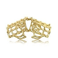 Bernard Delettrez Designer Rings Cage and Studs Articulated Bronze Ring