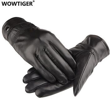 WOWTIGER NEW Leather winter guantes warm sheepskin Gloves men Leather gloves simple prevent cold Gloves for men