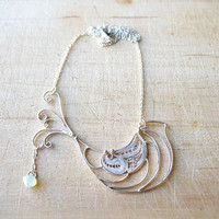 Sterling Silver, Hand Made Bird Necklace, Robin With Swarovski, Modern, Minimalist & Chic Design