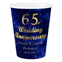 65th Sapphire Wedding Anniversary Gold Typography Paper Cup