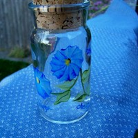 Blue Flowered Jar with Cork Top by monkmama54 on Zibbet