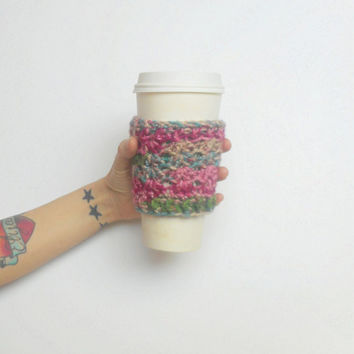Textured Crochet Coffee Cozy in Pink Garden, ready to ship.