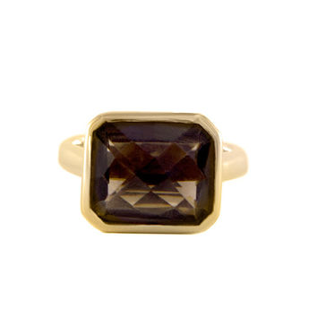 Square Yellow Gold Smoky Topaz Cocktail Ring