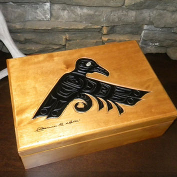 Haida, Raven Hand Carved Wood Box with Mother of Pearl Eye, Keepsake Solid Wood Box By Clarence A. Wells-Flip Lid, Wood Hinges
