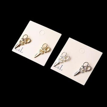 Gold and Silver Plated Scissor Stud Earrings