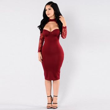 Women Lace Floral Party Dress Cut Out High Neck Sheath Casual Party Club Bodycon Dress Black/Red