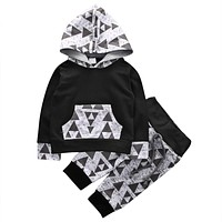 Newborn baby boys girls clothing Kids Baby Boys Outfits Clothes Hoodies T-shirt Tops+Pants