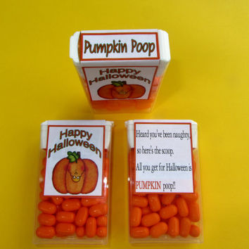 PUMPKIN POOP,Tic Tac label,Halloween favor,Halloween sticker,Halloween candy,Halloween party,pumpkin candy