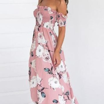 Pink Lemonade Light Pink White Blue Floral Short Sleeve Smocked Off The Shoulder Casual Maxi Dress