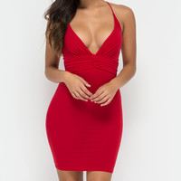 Crisscross The Line Bodycon Midi Dress