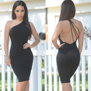 Black One Shoulder Strappy Back Bodycon Midi Dress