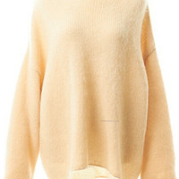 Round Neck Bow Tie Back Loose Apricot Sweater