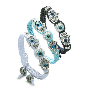 Magic Evil Eye Protection Best Friends Forever BFF Hamsa Hands Set Bracelets