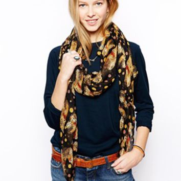 Liquorish Fox Print Scarf - Black