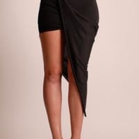 Black Maxi Skirt Featuring Wrap Overlay Detail