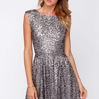 Midnight Mood Grey Sequin Dress