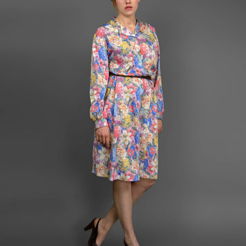 Vintage 1970s Dress • 70s Floral Dress • Colorful Floral Print Dress • Long Sleeve Button Up Tent Dress • A Line Dress • Plus Size 70s Dress