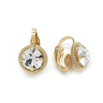 Gold Layered 02.09.0156 Leverback Earring, with White Cubic Zirconia, Polished Finish, Golden Tone