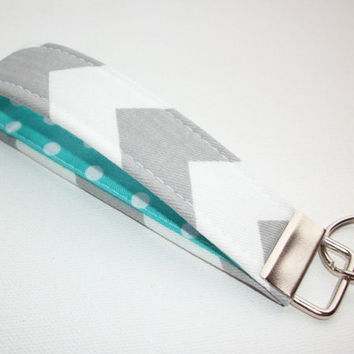 Key FOB / KeyChain / Wristlet key strap  - Gray Chevron zig zag with white polka dots on aqua soft - gift for her under 10