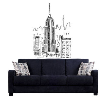 Empire state building Drawing Sketch Skyline NY New York Wall Mural Decal vm49
