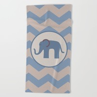 Baby Blue Chevron Elephant Beach Towel by UMe Images