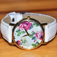 Peony Artificial leather Watch, Fashion Wrist Watch Retro Style Women's Watch  CP76